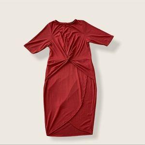 Libian Twist Front Rust Short Sleeve Tulip Dress